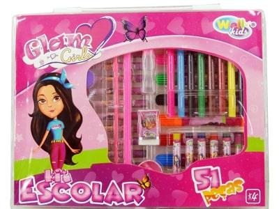 10948 Kit escolar Glam Girls de 51 peças   21 x 26 x 3.5cm