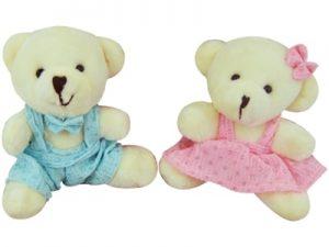 Chaveiro Urso Roupa Azul ou Rosa