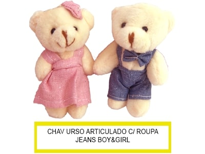 Chaveiro Urso Art Peq Roupa Gliter e Estrela Casal