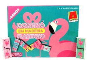 Jogo Dominó em Madeira Flamingo