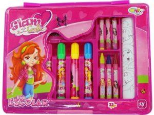 10932 Kit escolar Glam Girls de 33 peças   18 x 23.5 x 2.5cm